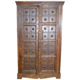 Image of Antique Indonesian Wood and Brass Armoire For Sale