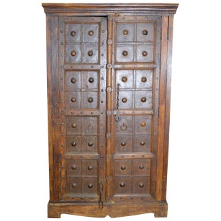 Antique Indonesian Wood and Brass Armoire For Sale