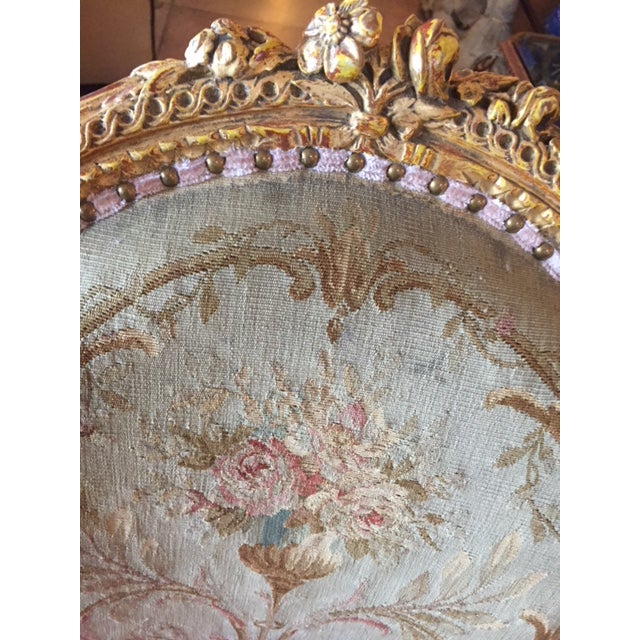 19th Century French Carved Gilt & Pink Leather Aubusson Back Arm Chairs - a Pair For Sale - Image 11 of 13