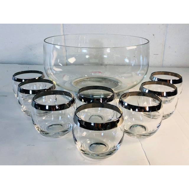 Metal 1960s Punch Bowl Set With Silver Rim Tumblers, Set of 9 For Sale - Image 7 of 9