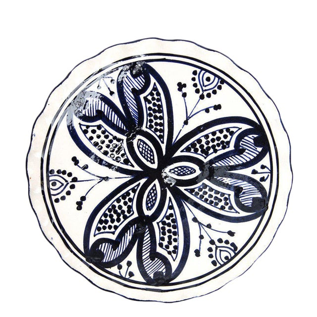 Moroccan Small Handpainted Navy Ceramic Plate - Image 1 of 2