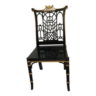 Black Lacquered Chinoiserie Fretwork Chair
