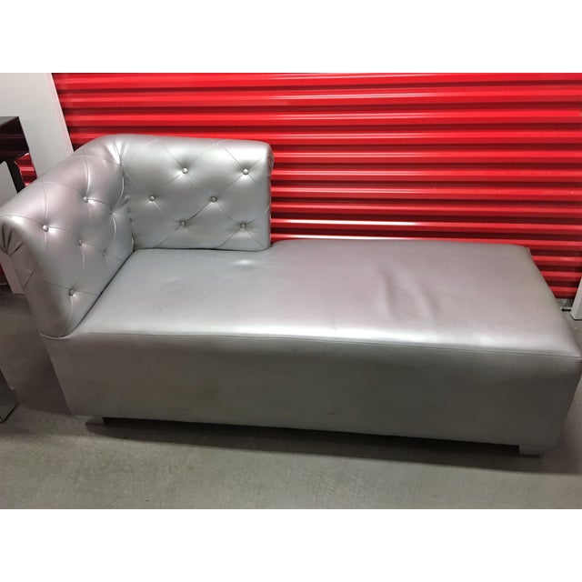 Silver Tufted Vinyl Chaise Lounge - Image 7 of 7