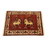 Image of 1990s Vintage Fighting Lion Persian Rug- 2′ × 3′1″ For Sale