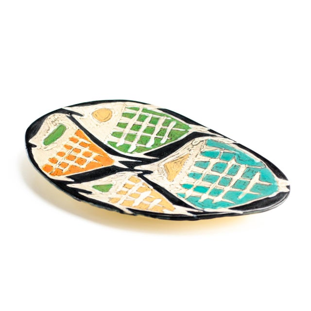 Mid-Century Modern Livia Gorka Mid-Century Art Pottery Plate or Dish Decorated With Four Fish For Sale - Image 3 of 7