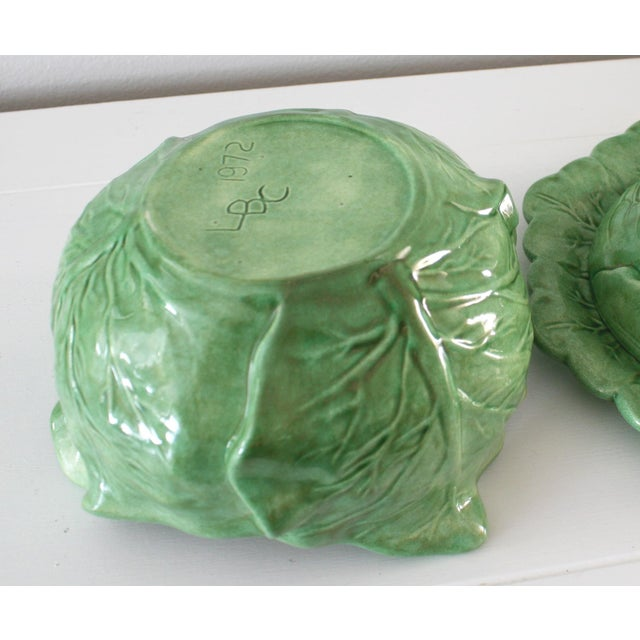 Green Vintage Majolica Style Cabbage Tureen Covered Bowl with Saucer Set For Sale - Image 8 of 9