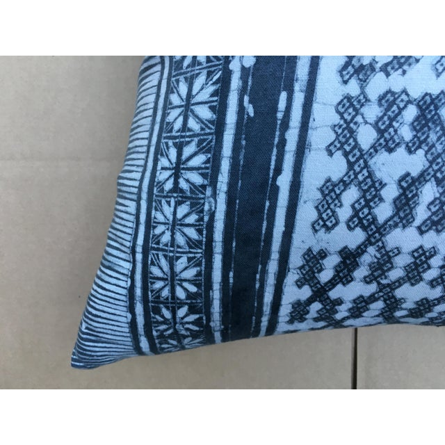 Gray Batik Cotton Tribal Pillow - Image 3 of 7