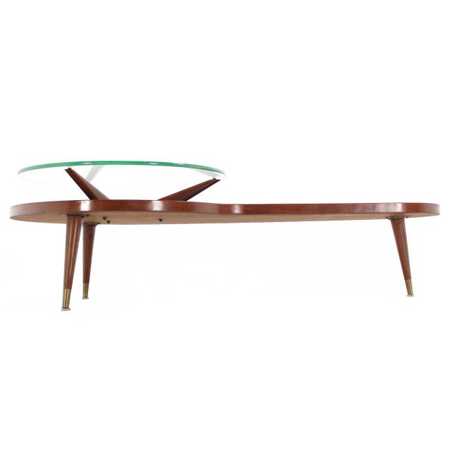 Mid Century Modern Walnut Organic Kidney Shape Coffee Table Round Glass Top For Sale In New York - Image 6 of 10