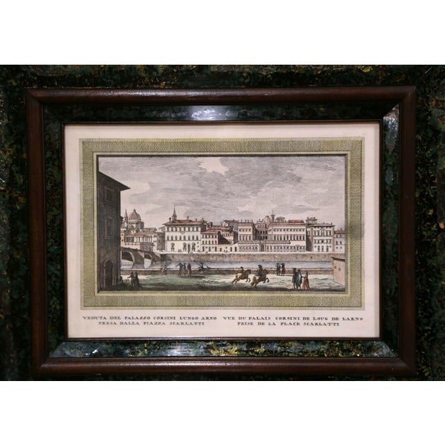 Black Pair of 19th Century Italian Florence Engravings in Ornate Églomisé Frames For Sale - Image 8 of 13