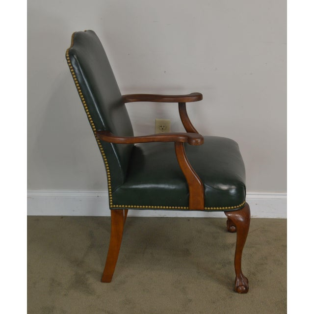 1990s South Mark Green Leather Chippendale Style Ball & Claw Pair Armchairs (A) For Sale - Image 5 of 12