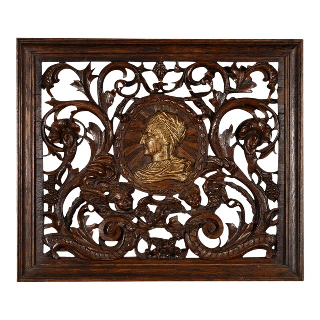 Antique Rococo Carved Wood Wall Panel For Sale
