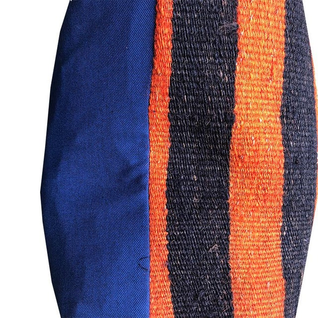 2010s Square Striped Black Orange Yellow White Turkish Rug Pillow With Zipper Back With Blue and Down Insert For Sale - Image 5 of 7