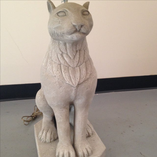 Regal Stone Cat Lamp - Image 3 of 5