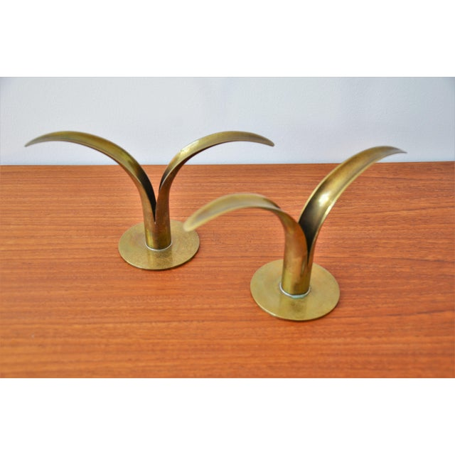 Mid-Century Modern The Lily Brass Candle Holders by Ivar Ålenius Björk for Ystad Metall - a Pair For Sale - Image 3 of 6