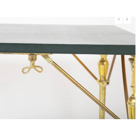 Maison Jansen A Leather Top and Brass Folding Games Table For Sale - Image 4 of 7