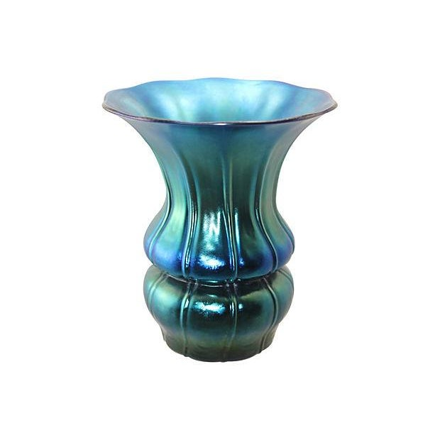 Authentic 1930s Steuben Blue Aurene Ribbed Vase Chairish