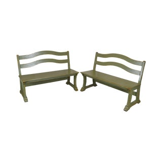 Woodland Furniture French Country Pair Green Painted Benches For Sale