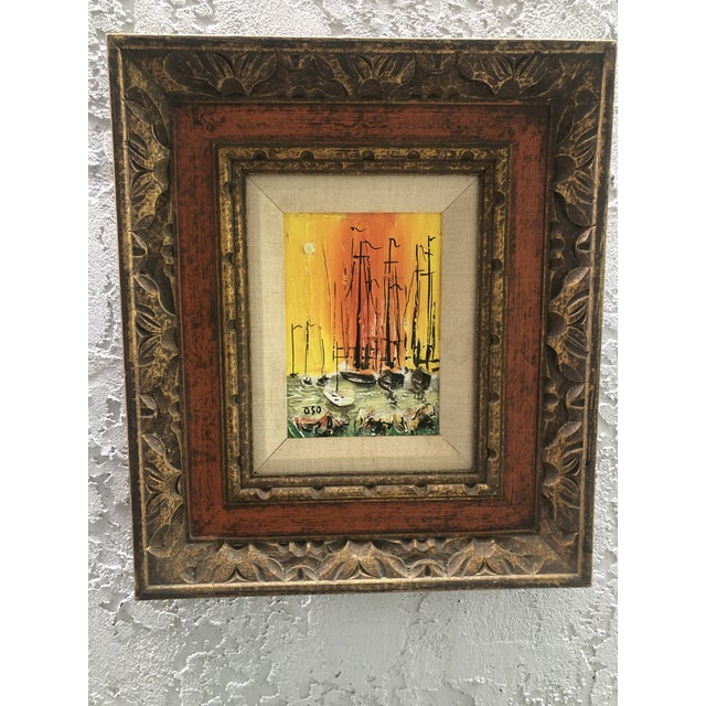 1970s Style Modern Ships Small Painting For Sale - Image 11 of 11