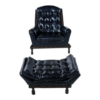 Spanish Meditteranean Style Black Tufted Vinyl Recliner Lounge Chair and Ottoman For Sale