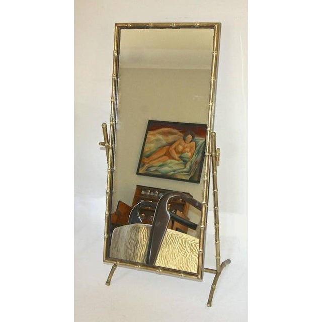 1950s 1950s French Bagues Bronze Bamboo Cheval Floor Mirror For Sale - Image 5 of 11