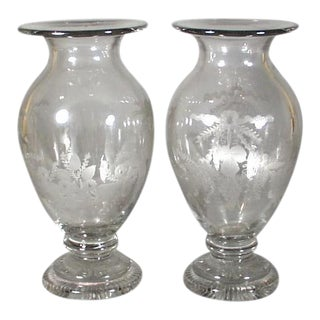 British Engraved Glass Vases - A Pair For Sale
