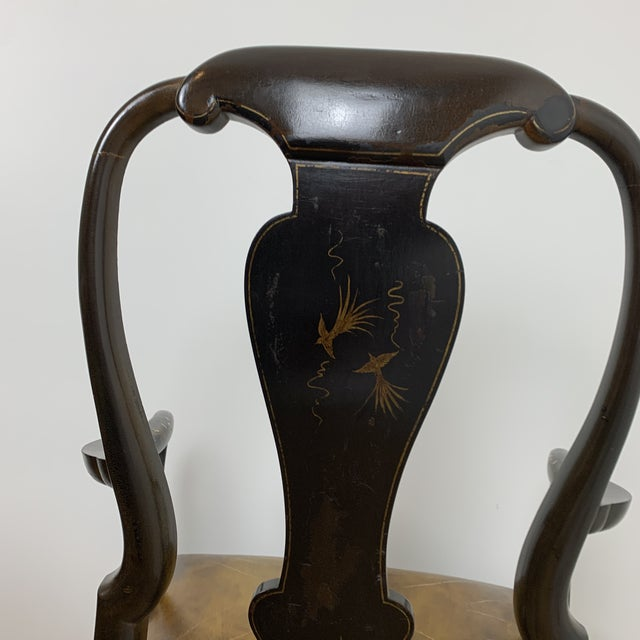 Black Black Japanned Chinoiserie Queen Anne Arm Chair For Sale - Image 8 of 13