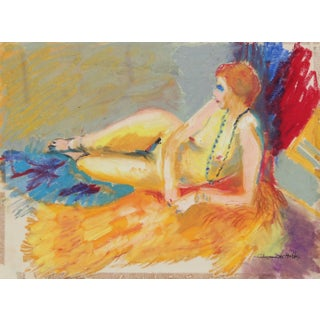 "Alysanne McGaffey ""Daphne"" Bright Female Figure Pastel Painting, Circa 1960s Preview"