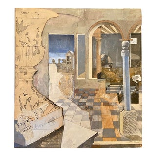 1986 Surrealist Style Architectural Interior Mixed Media Collage Signed Frassinelli For Sale