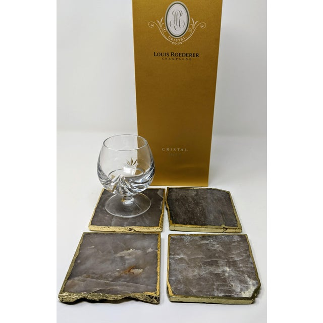 Mid-Century Modern Organic Modern Smoke Gray Agate Coasters With Gold Metal Edge - Set of Four (4) For Sale - Image 3 of 12