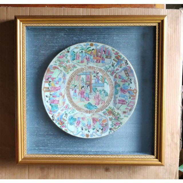 Chinese Rose Mandarin Pattern Porcelain Charger, Framed For Sale - Image 11 of 11