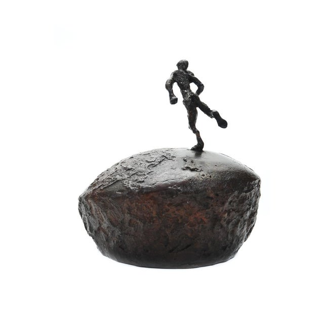 Athlete Running Across the World Bronze Sculpture For Sale - Image 5 of 9