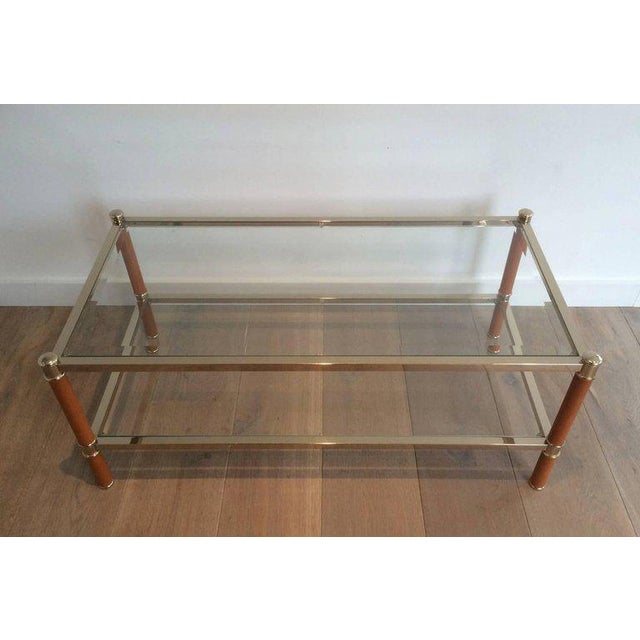 Maison Lancel Gilt Brass and Leather Coffee Table by Lancel For Sale - Image 4 of 11