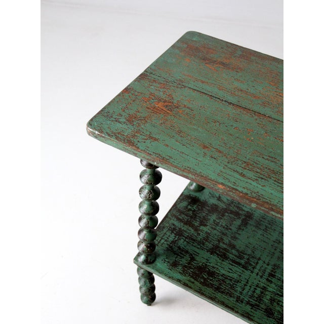 Green Antique Folk Art Spool Table For Sale - Image 8 of 9