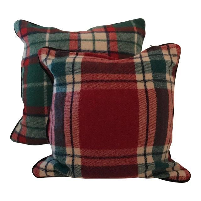 Vintage Stadium Blanket Wool Velvet Pillows - a Pair For Sale