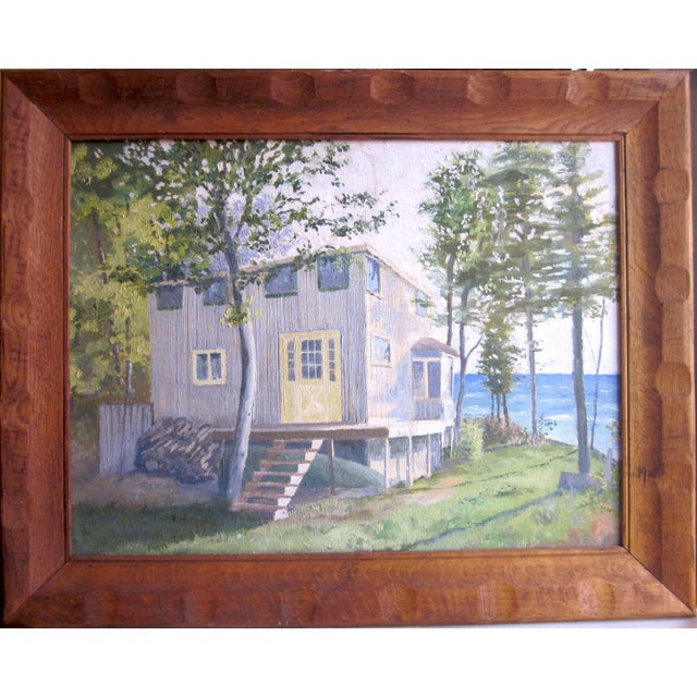 1971 Vintage Rural Cottage Scene Signed Acrylic on Canvas Painting For Sale - Image 10 of 10