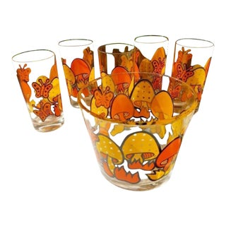1960s Mid-Century Modern Orange and Yellow Butterfly Mushroom Glasses and Ice Bucket - 6 Pieces