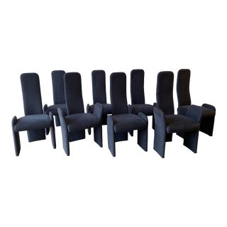 Saporiti-Style Black Ultra Suede Highback Dining Chairs- Set of 8 For Sale