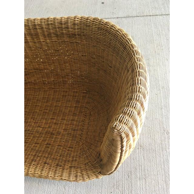 Vintage Wicker Barrel Back Settee For Sale - Image 4 of 12