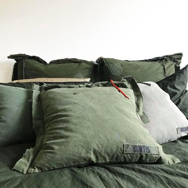 1960s Americana Us Army Dark Green Repurposed Surplus Private Curtis Pillow