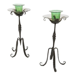 Carlo Rizzarda - Pair of Italian Candle Holders in Wrought Iron and Glass, Circa 1900 For Sale