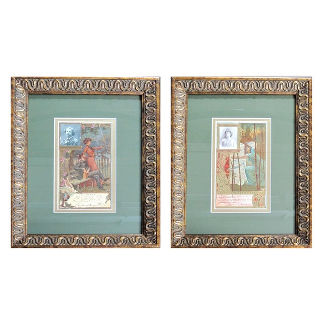 Framed Art Nouveau French Biscuit Ads - A Pair For Sale
