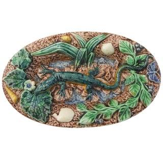 19th Century Majolica Palissy Lizard Wall Platter For Sale