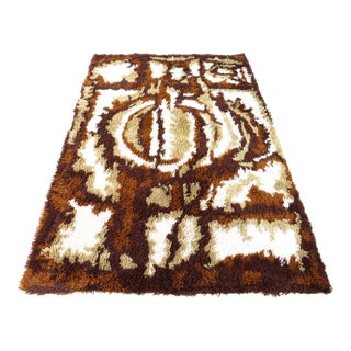 Mid Century Modern Abstract Shag Rya Rug-4'7'x6'7' For Sale