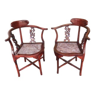 Chinese Asian Style Rosewood With Marble Seats Corner Chairs -A Pair