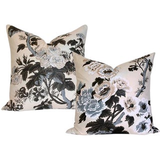 """Schumacher Pyne Hollyhock Charcoal 17"""" x 17"""" Pillow Covers - a Pair"""