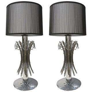 1970s Italian Vintage Tall Organic Nickel Table Lamps With Pendant Rings - a Pair For Sale