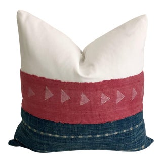 Boho Chic Pink Mudcloth & Indigo Pillow 24x24 For Sale