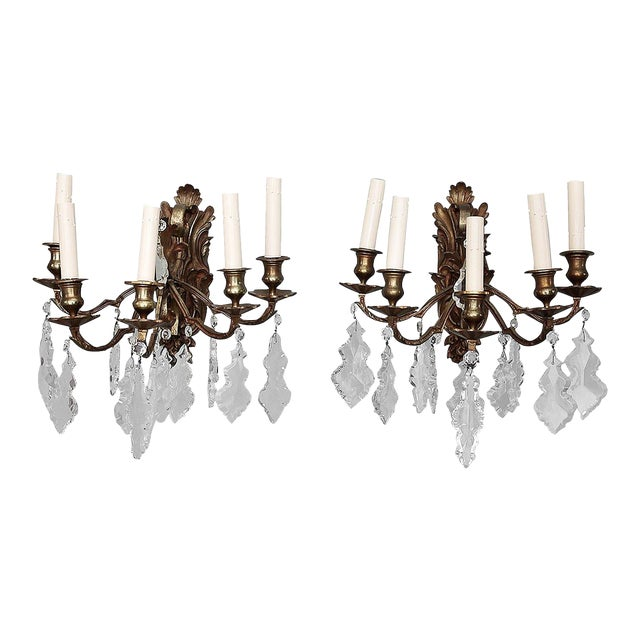 Pair of French 5 Light Bronze and Crystal Wall Sconces For Sale