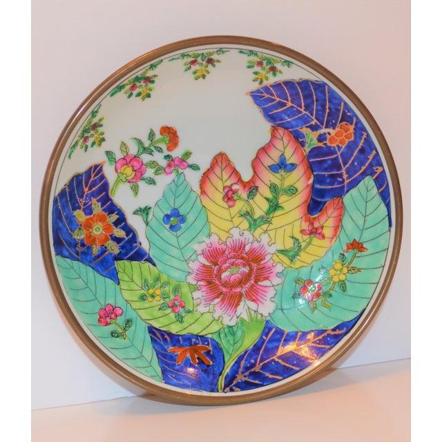 1980s 1980s Vintage Tobacco Leaf Porcelain and Brass Bowl For Sale - Image 5 of 13