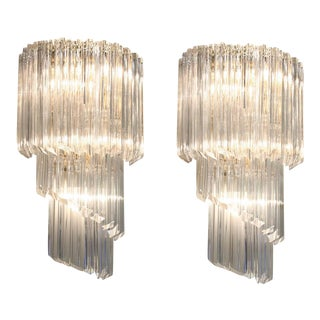 Camer Cascading Crystal Glass Sconces - a Pair